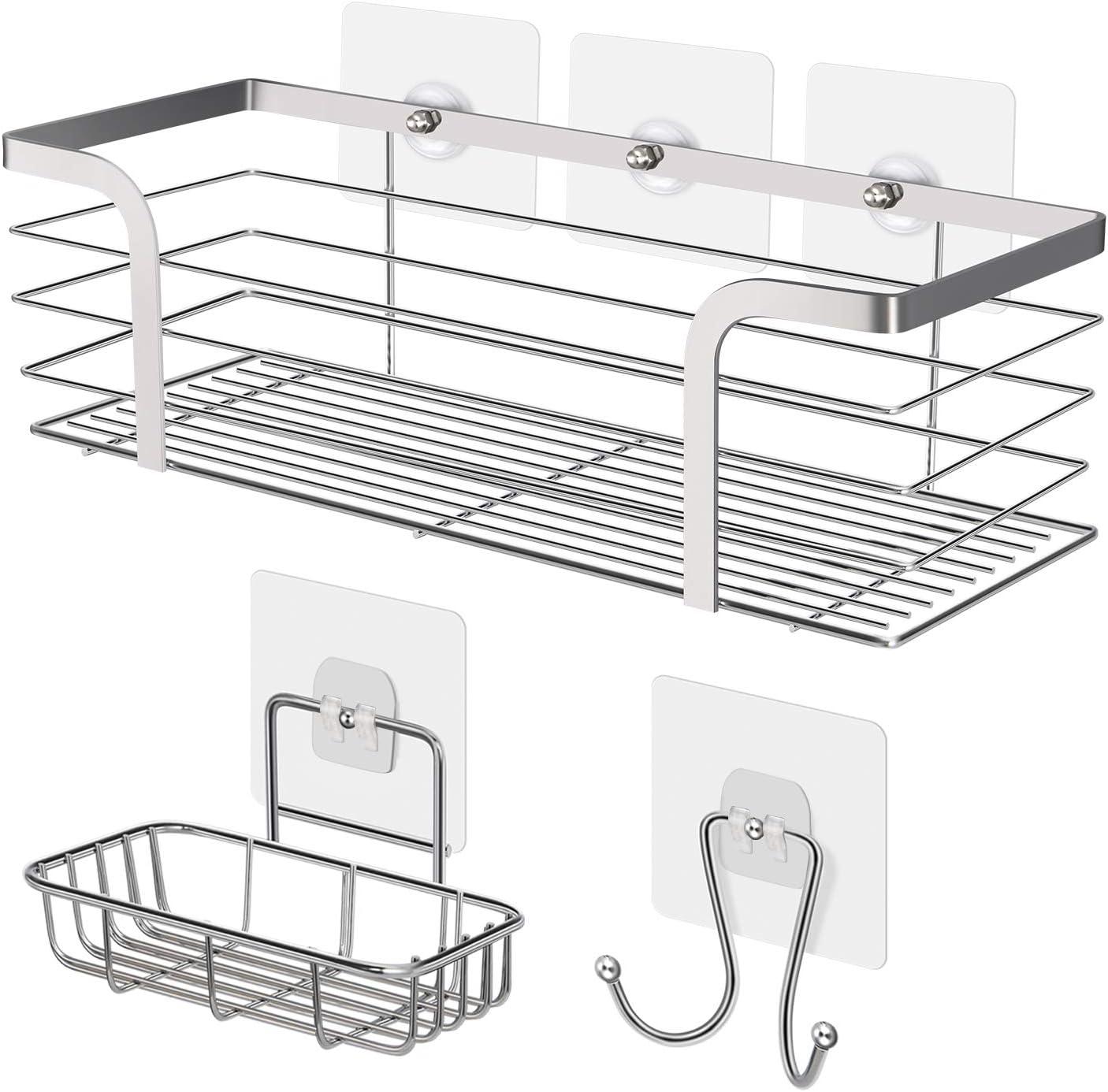 No Screw Modern 304 Stainless Steel Shower Baskets Chrome Bathroom Storage Racks