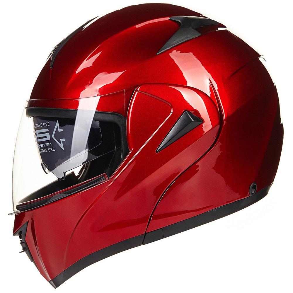ILM 10 Colors Motorcycle Dual Visor Flip up Modular Full Face Helmet DOT L, Matte Black