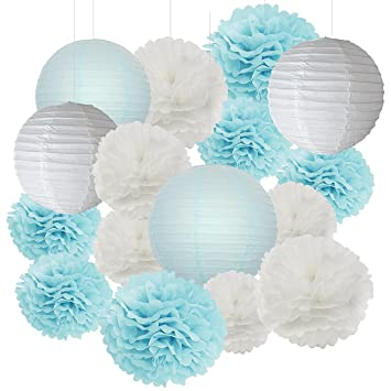 Furuix 18 Pcs Boy Baby Shower Decorations White And Baby Blue Mixed Tissue  Pom Pom Flower