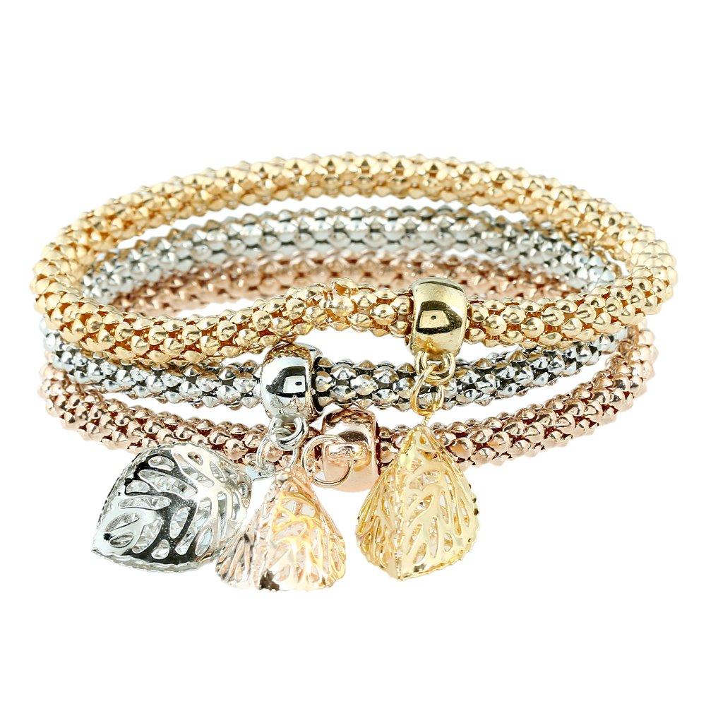 Lureme Filigree Leaf Charm Tri-Color Bracelet 3 Pcs Corn Chain Stretch Rope Bracelet Set (bl003247) Yida
