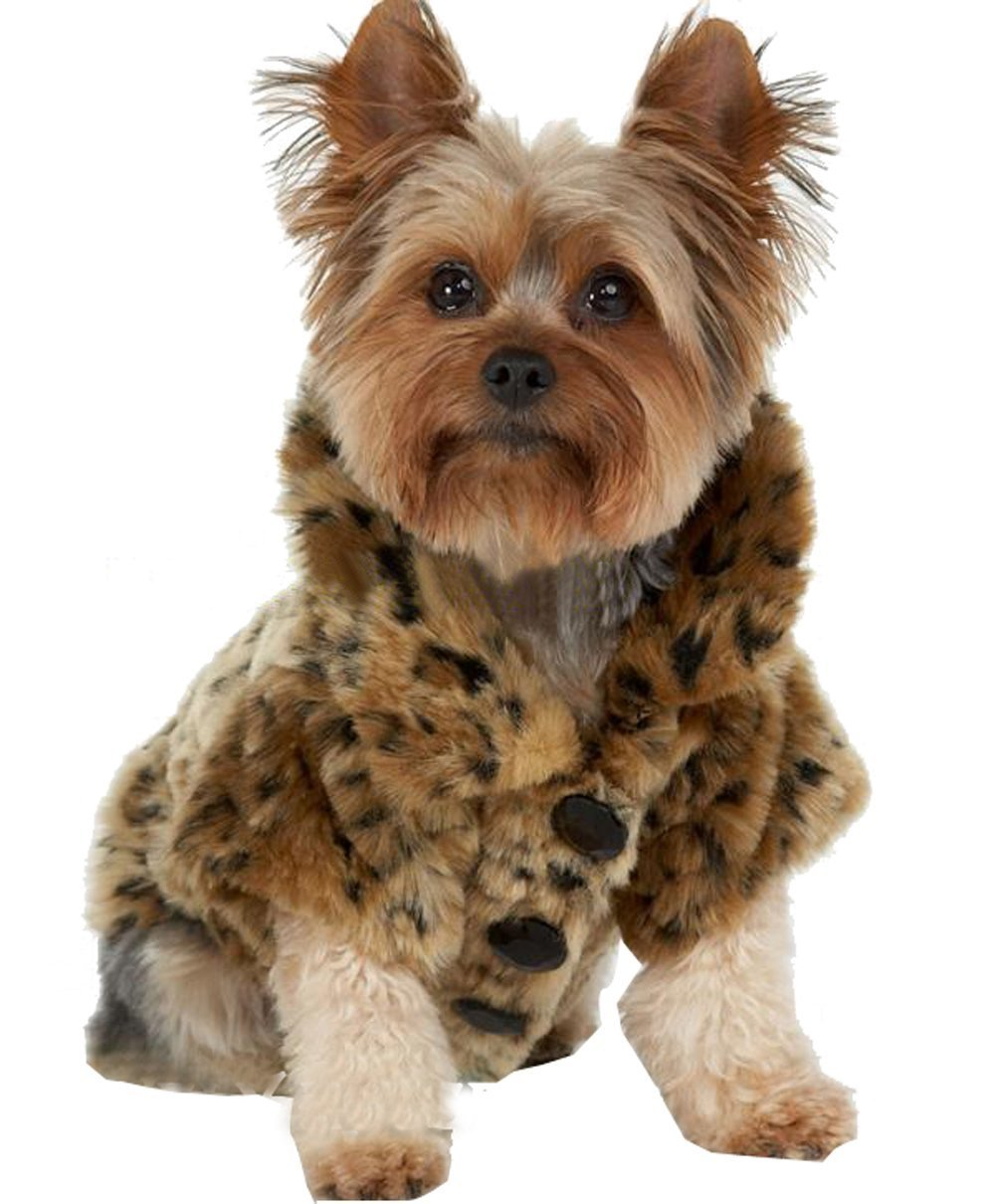 WISHLAND Dog Jacket Luxury Leopard Faux Fur Jacket Winter Clothes Pet Dogs Coat for Autumn and Winter Wearing