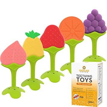 Teethers for Babies Toys Boy Girl Infant Fruit Organic Gum Cleaner TPE Material 3D Strawberry with Strap