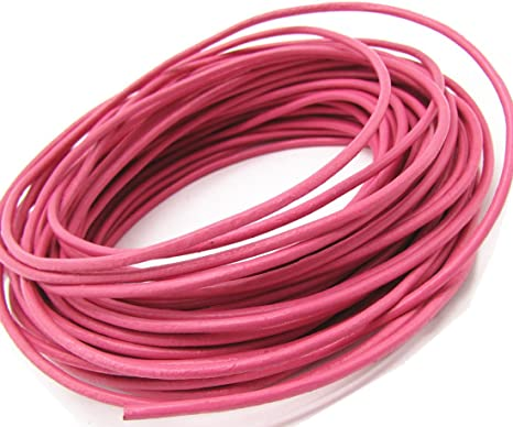 10 meters Pink Round Leather Cord 1.5mm 11 yards