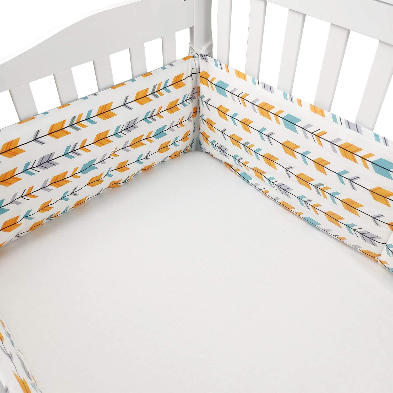 Taille 180x30cm TEALP Tour de Lit Bebe pour Fille et Garcon Protection de t/ête nid gardelinge pour lit de b/éb/é Renard Ours Bleu 100/% coton respirant