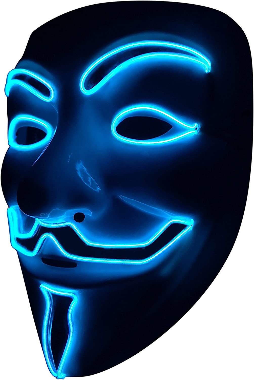 SOUTHSKY LED Mascara Disfraz de Luces Neon Led Brillante V Vendetta Mask EL Wire Light Up 3 Modos For Halloween Costume Cosplay Party (V-Blue)