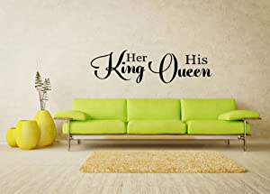 "byyoursidedecal Her King his Queen Vinyl Wall Decal Decor Art Quotes for Bedroom 6"" high x 22.5"" Wide (6"" high x 22.5"" Wide)"