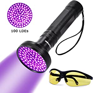 UV Blacklight Flashlight Super Bright 100 LED 18W 395nm Portable Blacklight Ultraviolet Detector Flashlight for Scorpions, Home & Hotel Inspection, Pet Urine & Stain Detection (with UV Sunglasses)