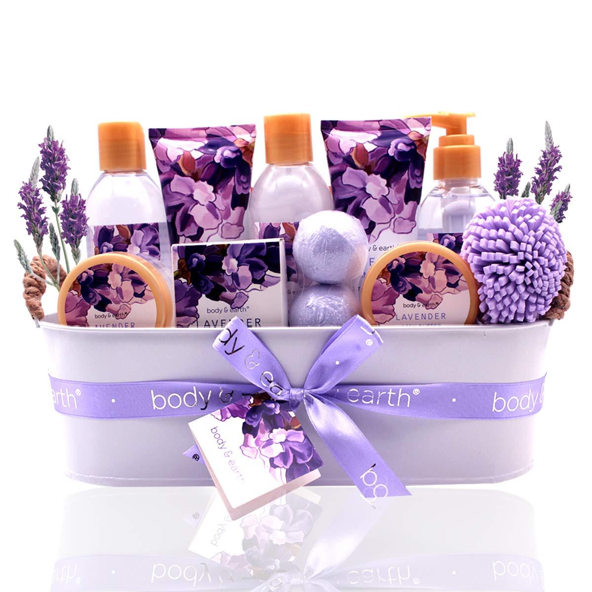 Bath Spa Gift Basket, Body & Earth Bath Gift Set 12 Pcs Lavender Scented, Includes Shower Gel, Bubble Bath, Bath Salt, Bath Bomb, Body Lotion and More, Bath and Body Gift Idea for Birthday Christmas by BODY & EARTH