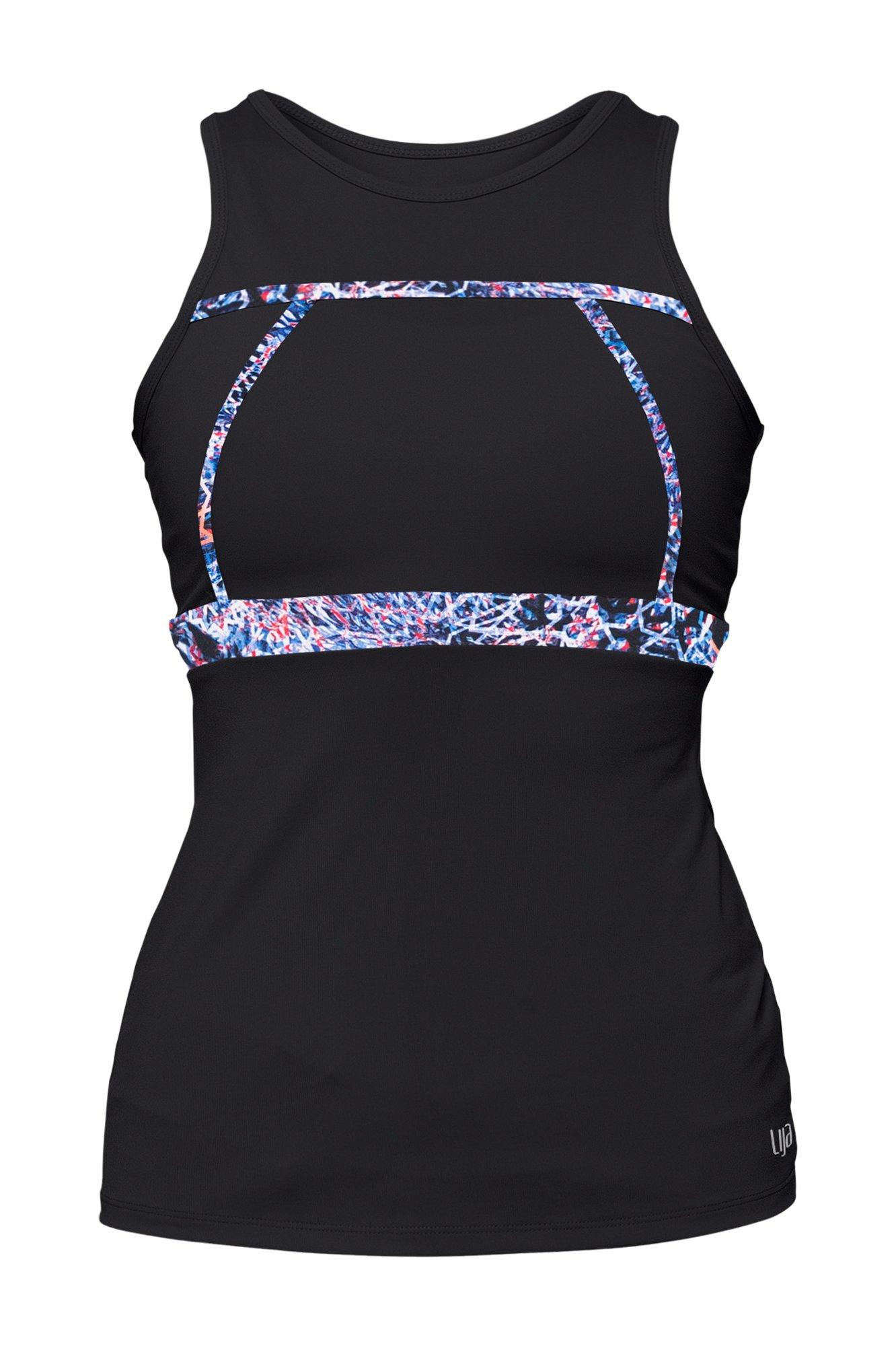 Lija Women's Compression First Lap Tank Top, Black/Babylon Print, Small