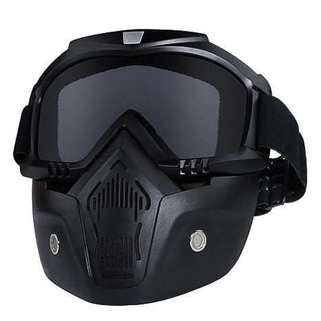 servizio duraturo davvero comodo massima qualità Casco da moto con occhiali, maschera rimovibile, staccabile, caldo  antinebbia occhialini, filtro bocca regolabile, cinghia antiscivolo  vintage, Harley ...