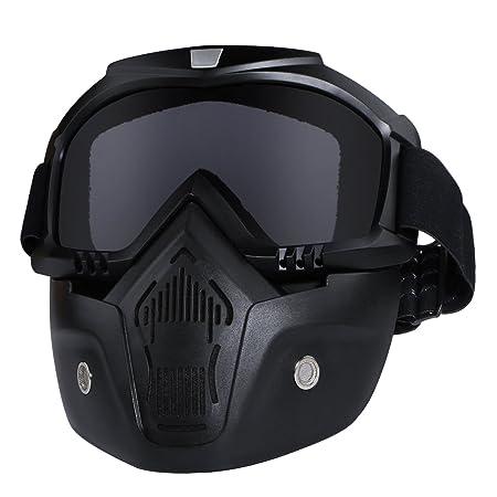 Casco de motocicleta con gafas extraíbles, lentes antivaho, filtro en la boca, correa antideslizante ajustable, estilo vintage, negro: Amazon.es: Coche y ...