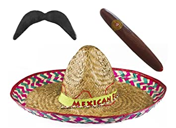 NATURAL COLOUR MEXICAN SOMBRERO STRAW HAT POMPOMS ADD ACCESSORY MOUSTACHE CIGAR