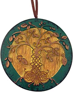 The Irish Tree of Life Wood Toned Resin Celtic Ornament with God Bless Our Irish Family Back, 3 inch