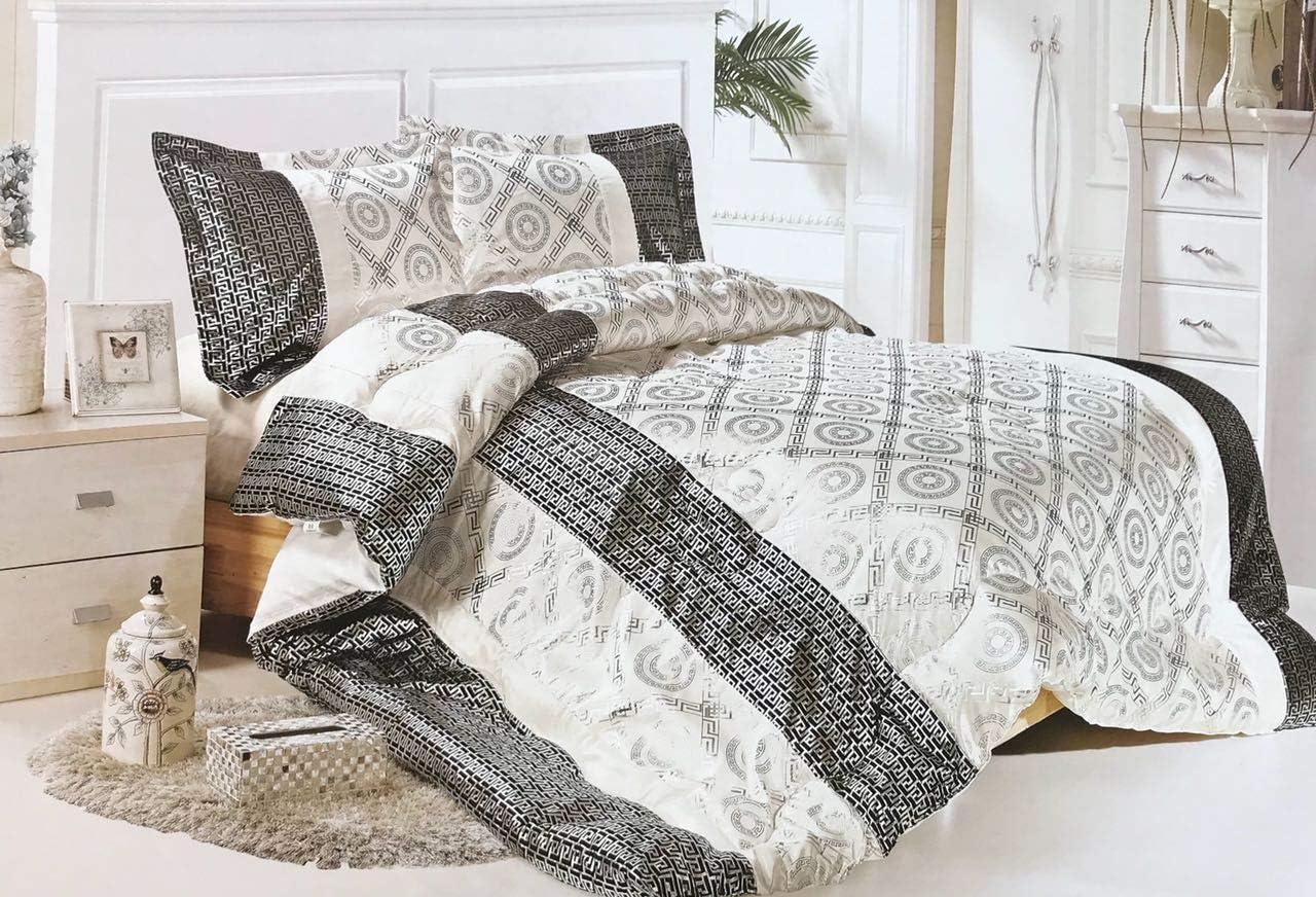 Deko-K/önig 3 teiliges Versus Tagesdecke Set Bettdecke Bett/überwurf Medusa Bett Decke Weiss-Schwarz