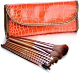 Glow 7 Makeup Brushes Set in Brown Crocodile Leather Design Case