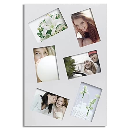 Adeco 6 Opening 4x6 Picture Frame White Finish Solid Wood Photo