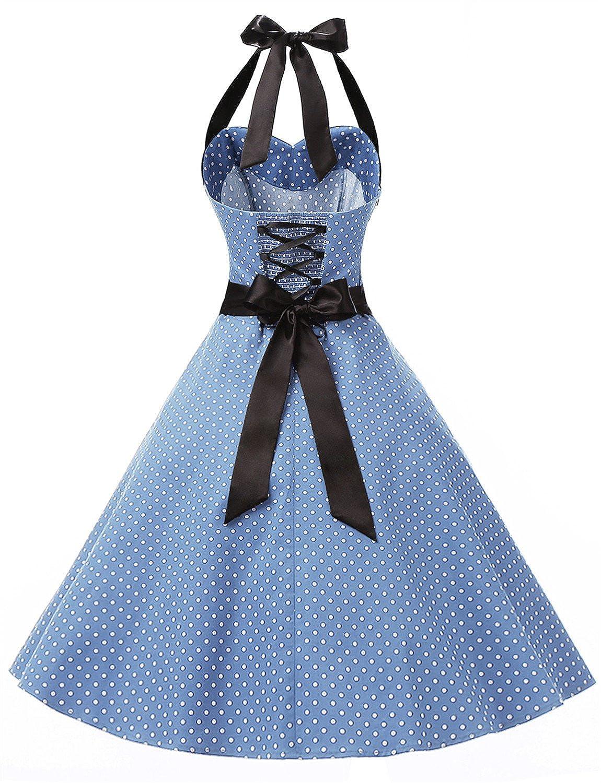 Dressystar Vintage Polka Dot Retro Cocktail Prom Dresses 50s 60s Rockabilly Bandage