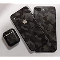 GADGETS WRAP Printed Apple Airpods Apple iPhone 10 iPhone X/iPhone Xs Apple iPhone 7 Plus 8 Plus Mobile Skin - Black Camo Printed (iPhone X/iPhone Xs - Black Camo)