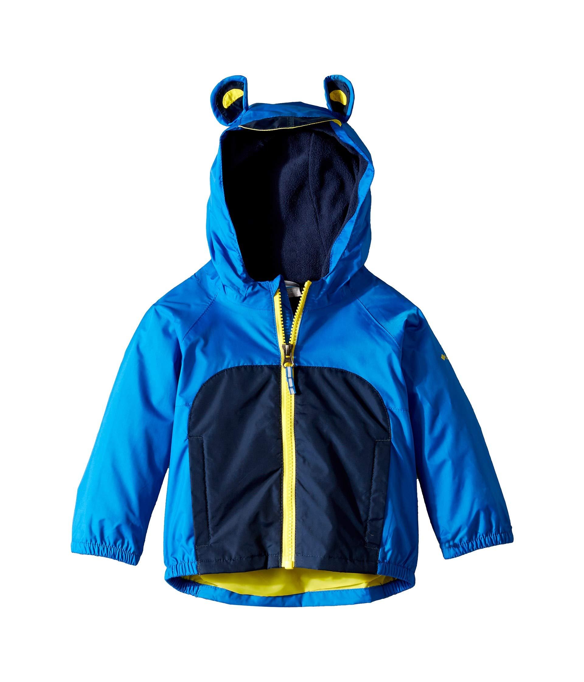Columbia Kids Baby Boy's Kitteribbit¿ Fleece Lined Rain Jacket (Infant/Toddler) Super Blue/Collegiate Navy/Autzen 6-12 Months