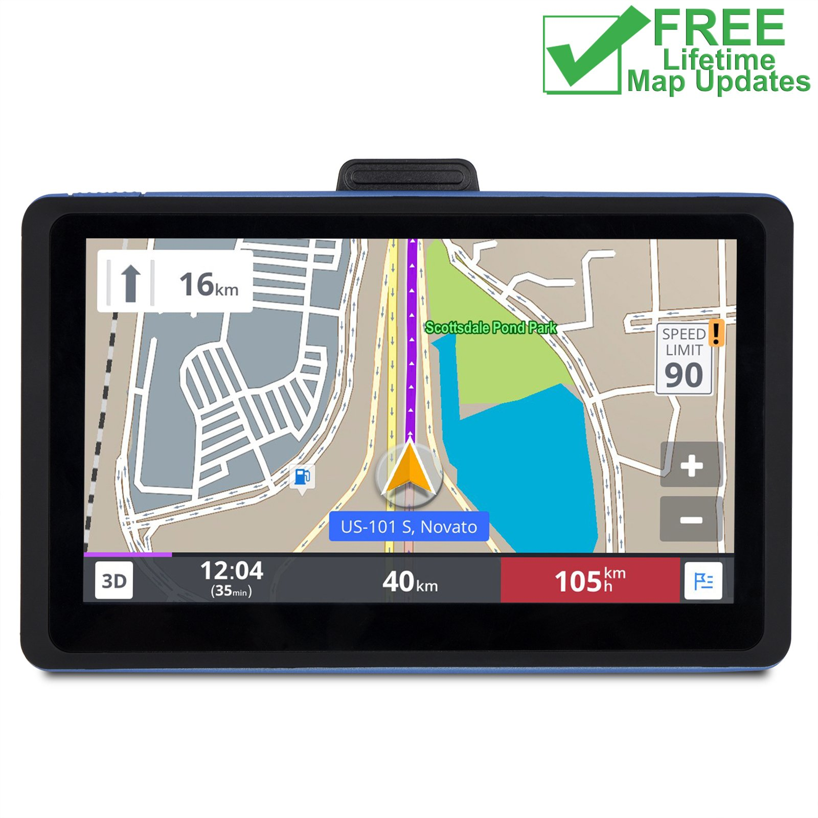 MYH GPS Navigation for Car with Lifetime Map Updates, 7 Inch HD 8GB Spoken Turn-by-Turn Vehicle GPS Navigator Navigation System with USB Cable, Driver Alerts