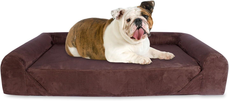KOPEKS Sofa Cama para Perro Grande Estilo Lounge Tamaño para Perros Mascotas Grandes con Memoria Viscoelástica Ortopédica 106 x 86 x 20 cm - L - Marrón