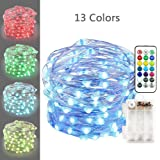 Icicle Color Changing String Lights,13 Colors 50 LED Dynamic Battery Powered Copper Fairy Starry String Lights with Remote Control for Bedroom, Stairway, Desk, Centerpieces Decorations(Multi-color)
