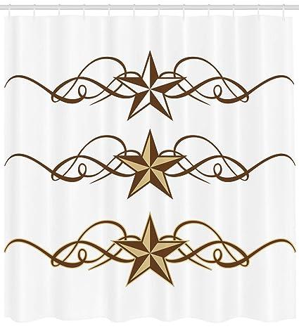 Ambesonne Primitive Country Decor Shower Curtain Western Stars Scroll Design Ornate Swirls Antique Artistic