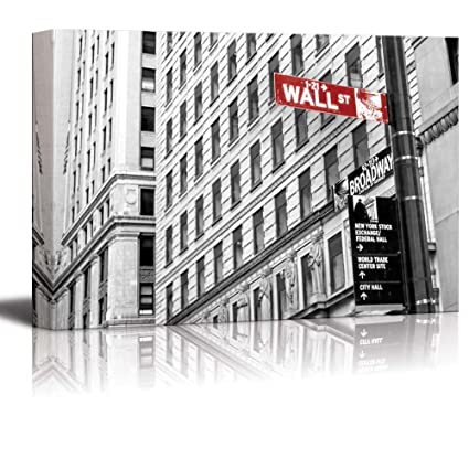 Wall26 black and white photograph with pop of color on the wall street sign canvas