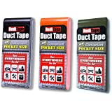 RediTape Travel Size Duct Tape 3-Pack | Compact, Flat, Pocket Size | for Travel, Outdoors, Repairs, Crafts and Emergencies | 3-Pack, Black, Orange, Olive