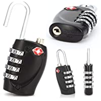 Guilty Gadgets TSA Approved 3 Digit COMBINATION PADLOCK Heavy Duty Black Security Travel Code Number Luggage - Black