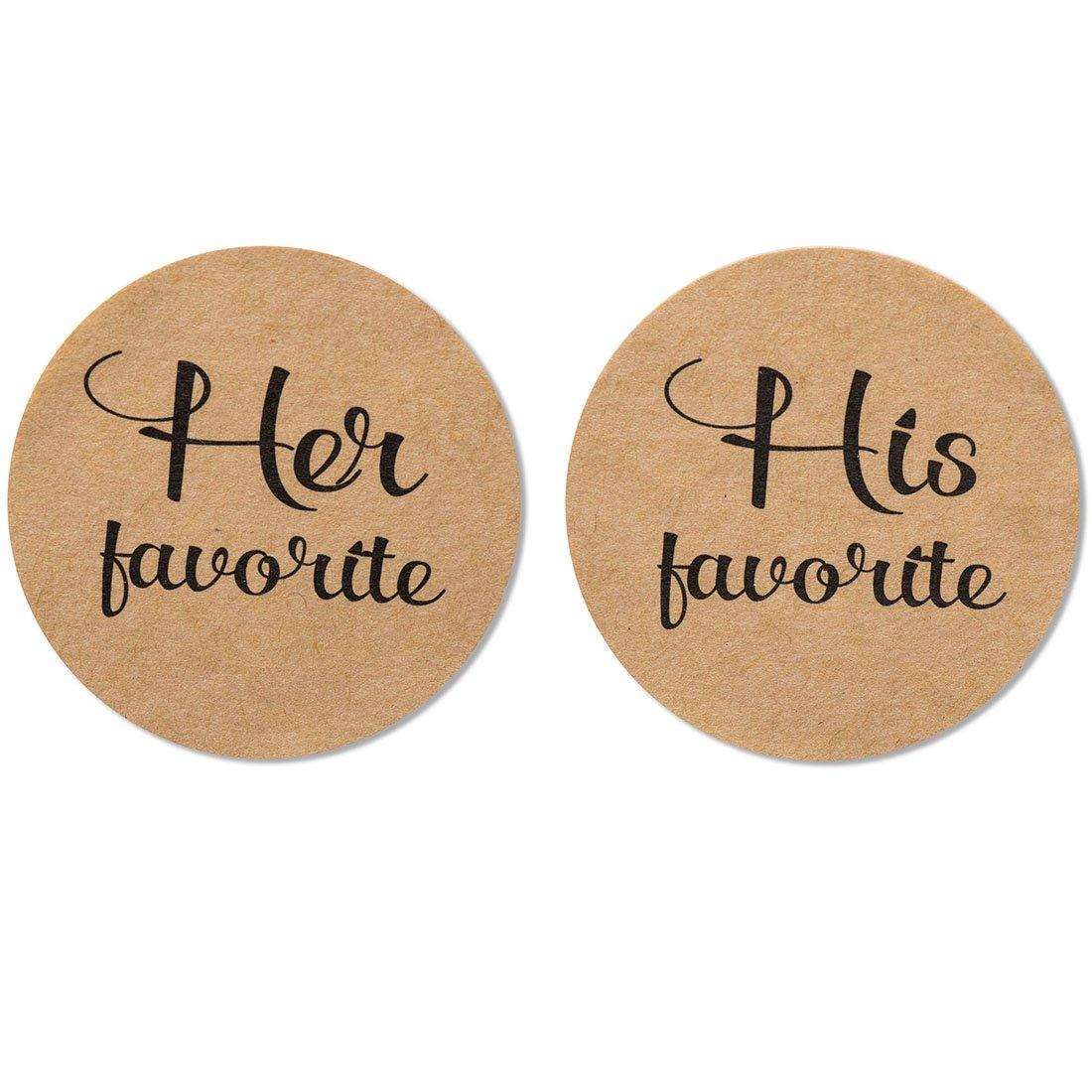 "80-Pack- 2"" Kraft his Favorite & her Favorite Wedding Stickers, Rustic Wedding Favor Stickers Labels"