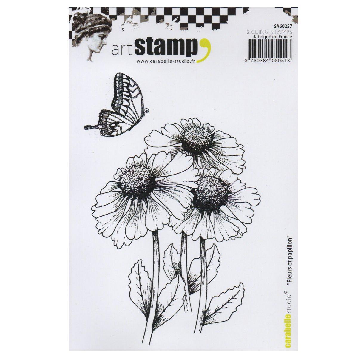 Carabelle Studio Cling Art, Set di Due, Farfalle e Fiori, per Carta Artigianale stampaggio progetti, Cartoline e Album, Formato A6 SA60257
