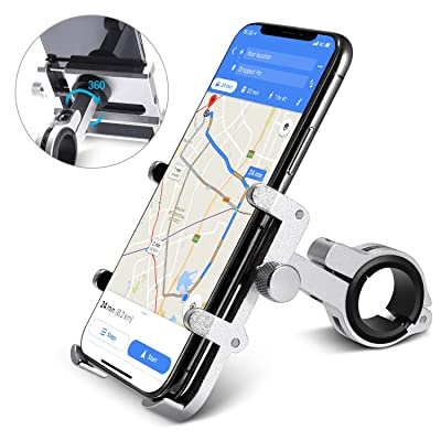 "homeasy Bike Phone Mount Universal, Bicycle Holder Handlebar Cellphone Adjustable Fall Prevention, Fits iPhone Xs|XS Max, XR, X, 8 | 8 Plus, Galaxy S9, Holds Phones from 3.5-7"" Wide, Silver: Sports & Outdoors"