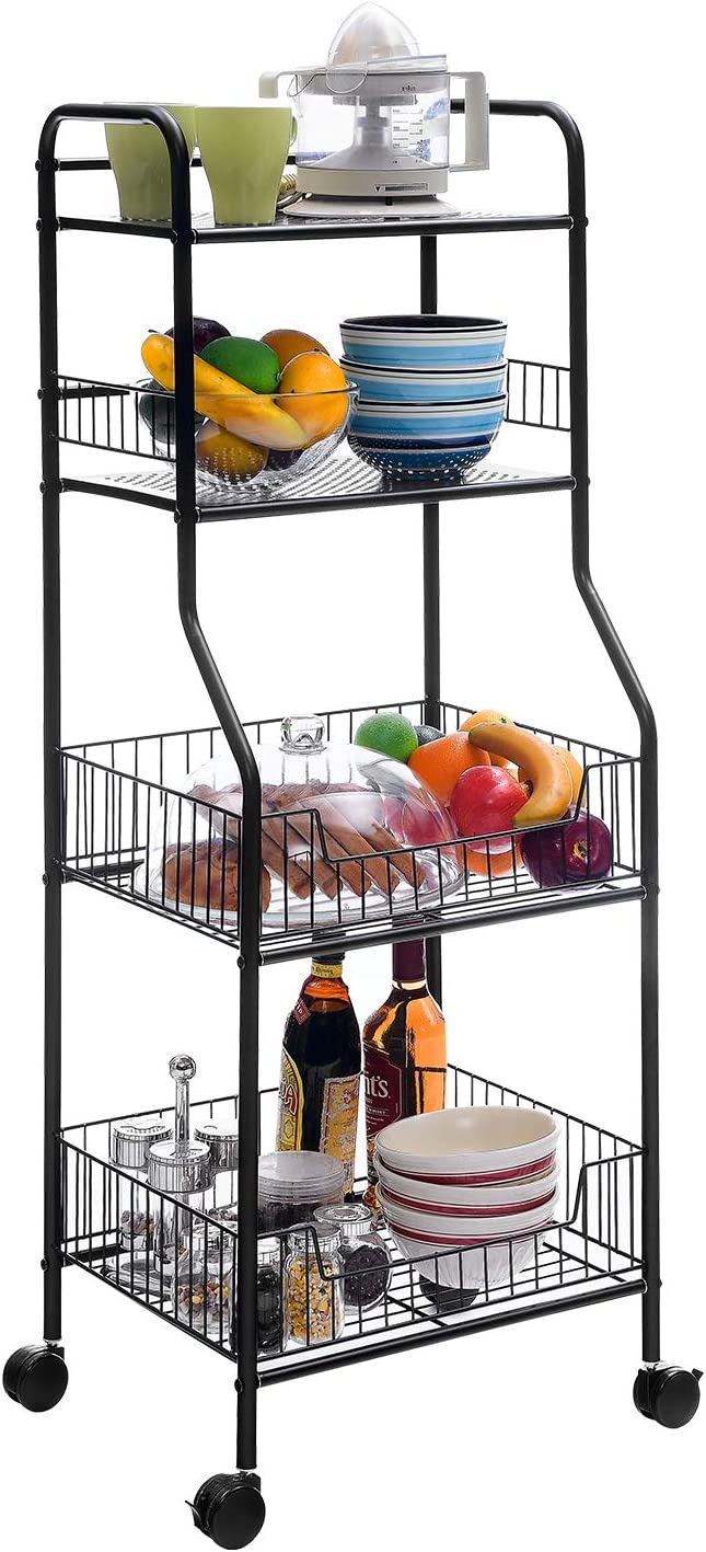 Mr IRONSTONE Wire Shelving Units and Storage 4-Tier Utility Rolling Cart for Kitchen, Pantry, Laundry & Bathroom Organization (Black)