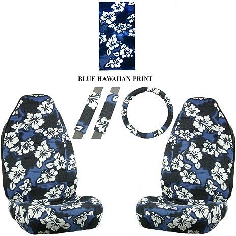 Pack of 2 Allison Corporation Allison 67-0346BLU Blue Hawaiian Print Universal Bucket Seat Cover