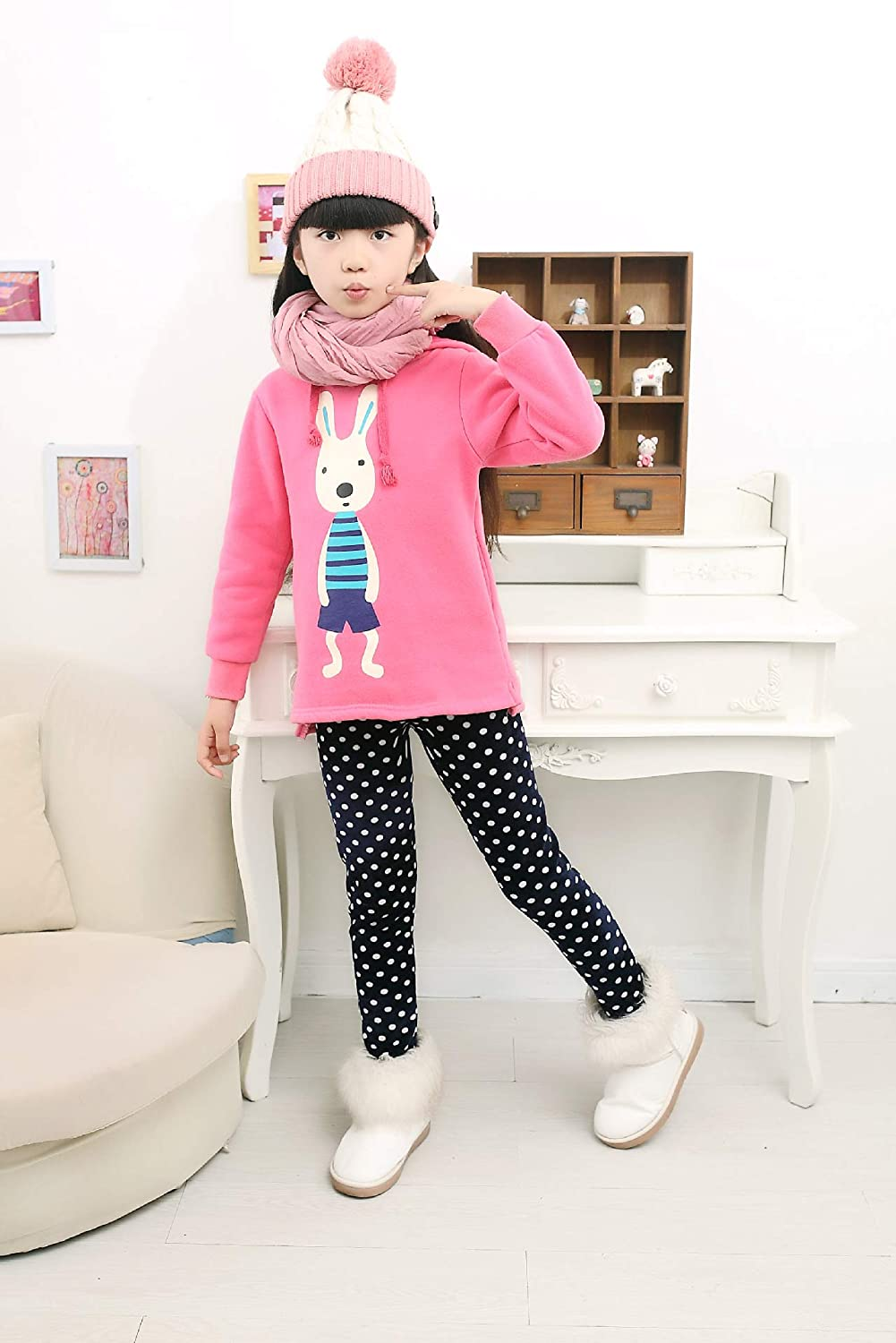 Girls Thicken Tights Winter Thermal Fleece Lined Leggings Little Kids Stretchy Printed Pants
