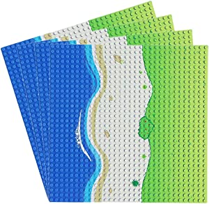 Feleph Blue Beach Road City Baseplate Straight, Ocean Island Street Base Plate 10 x 10 Inches, Pirates Sea Grass Toy Kit for Building Bricks Compatible with All Major Brands (Straight-4)