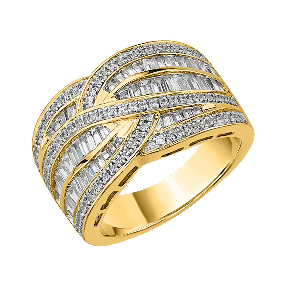Baguette and Round Cut Diamond Anniversary Ring in 14K Yellow Gold (1 cttw) (JK-Color I2/I3 Clarity) (Size-6.5)