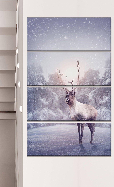 Extra Large Animal Metal Wall Art Grey 28x60 Designart Mt12789 401v Huge Reindeer Standing In Snow Posters Prints Wall Art