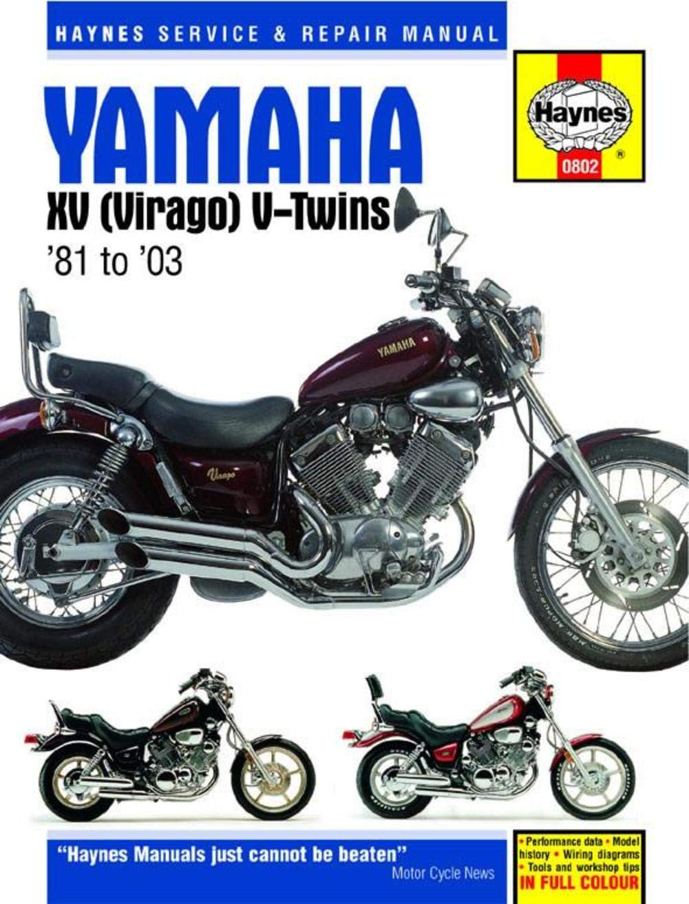 amazon com: haynes repair manuals 802 yamaha xv virago v-twin 81-03:  automotive