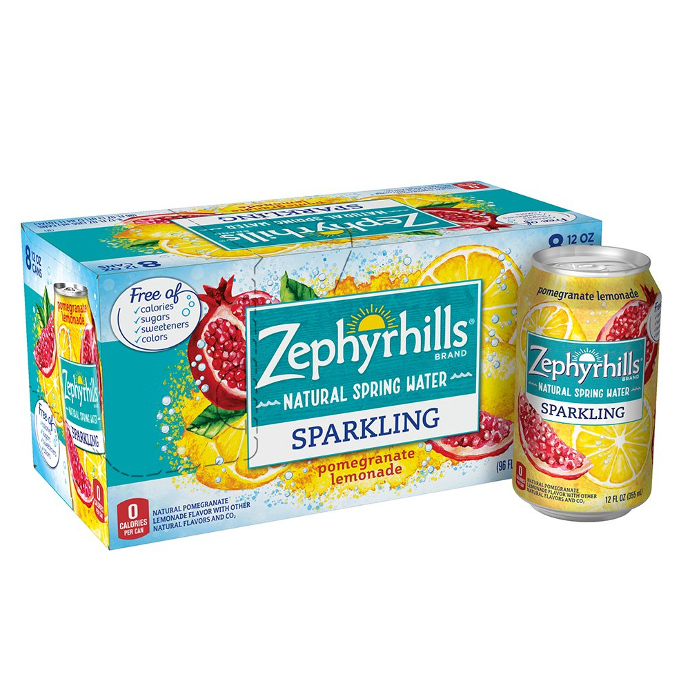Zephyrhills Sparkling Water, Pomegranate Lemonade, 12 oz. Cans (Pack of 8)