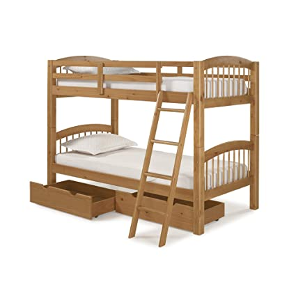 Amazon Com Alaterre Ajsb10cis Spindle Twin Bunk Bed With Storage