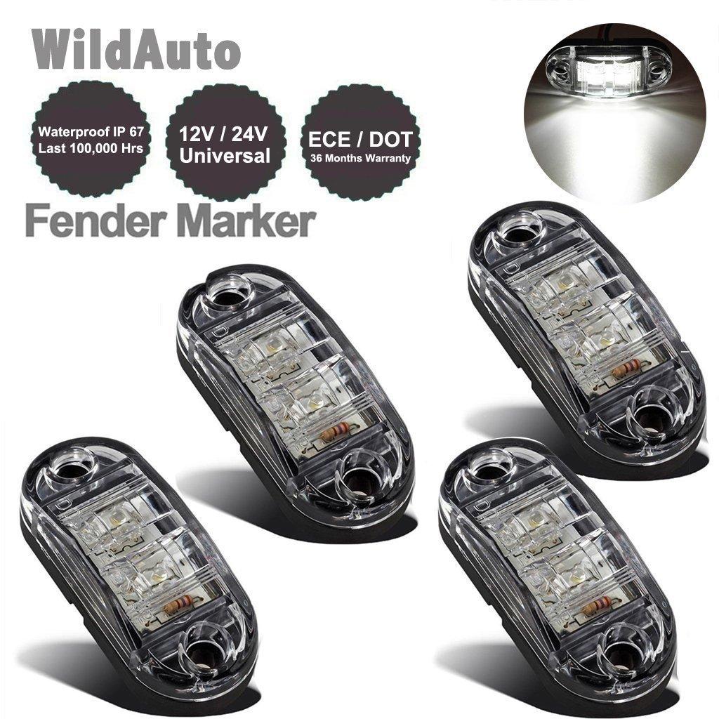 LED Seitenmarkierungsleuchten 12V/24V fü r Auto LKW Anhä nger SUV Van Wasserdicht Markierungsleuchten E-geprueft (4pcs, Weiß )-WildAuto Weiß ) -WildAuto L30O25R02W-4pcs