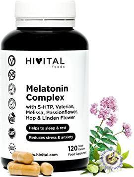 Melatonina Complex | 120 cápsulas veganas para 4 meses | Con 5-HTP, Valeriana, Melisa, Pasiflora,