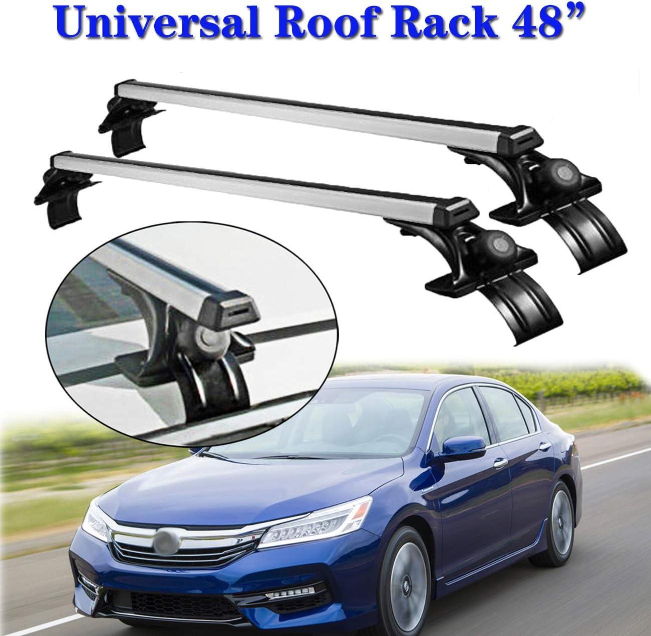 "48/"" Roof Rack Side Rails Bars Silver Pair Set Aluminum fit most Nissan Subaru"