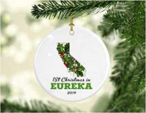"""Christmas Holiday 2019 Ornament Collectible First 1st Season Living in Eureka California Christmas Ornaments Tree 1st Christmas in Our New Home 2019 Xmas Present Ceramic 3"""" White"""
