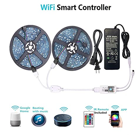 finest selection 540d0 6c31e WenTop Waterproof LED Strip Lights, WiFi Wireless Smart Phone Controlled UL  RGB LED Light Strip Kit 32.8ft(10M) 300leds LED Strip,Works with Android ...