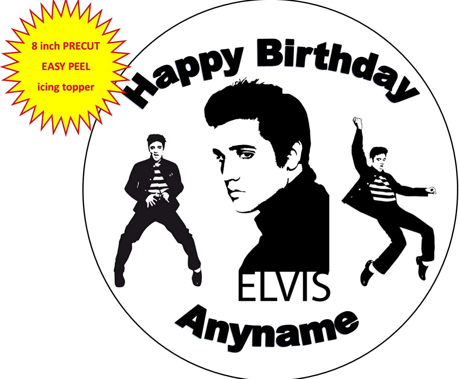 Personalised Elvis cake topper black gold glitter any name age The King