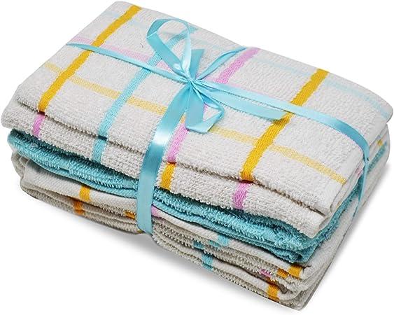 Xelay - Juego de 5 paños de cocina, 100 % algodón de rizo, tamaño grande, superabsorbentes, para limpiar o secar, 60 x 40 cm, 100% algodón, aguamarina, 60 x 40cm: Amazon.es: Hogar