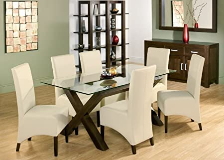 bentley designs lyon walnut glass dining table with 6 ivory wing